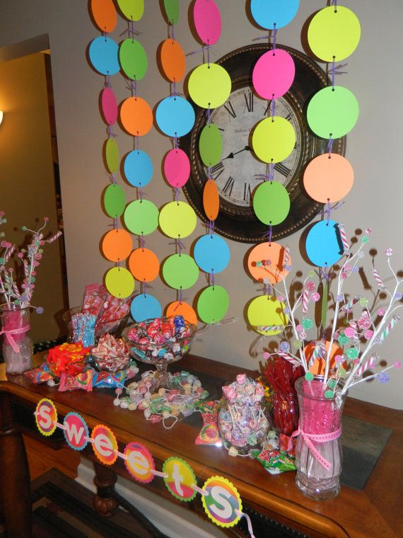 Brightly Colored Party Garland by YoureInvitedDecor on Etsy, $6.50