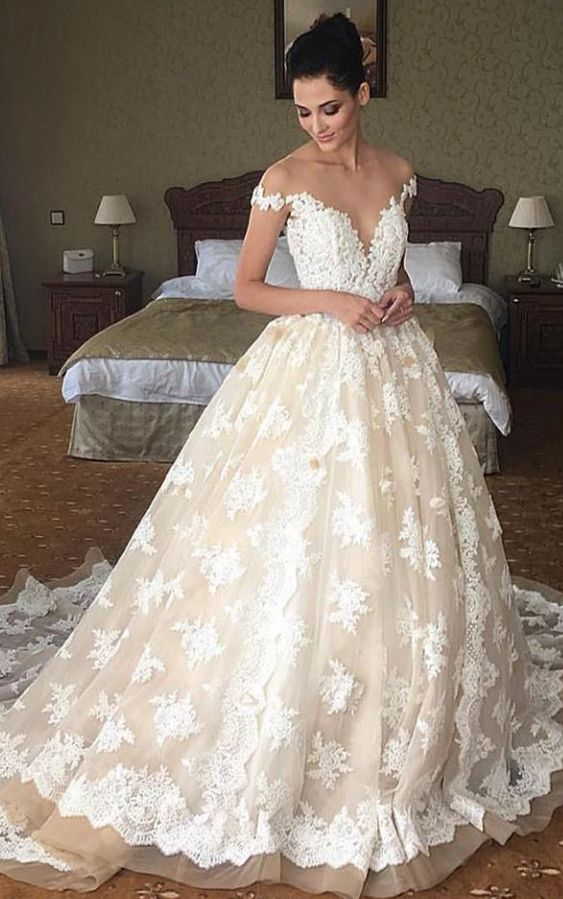 Off The Shoulder Deep Sweetheart Neckline Ballgown Wedding