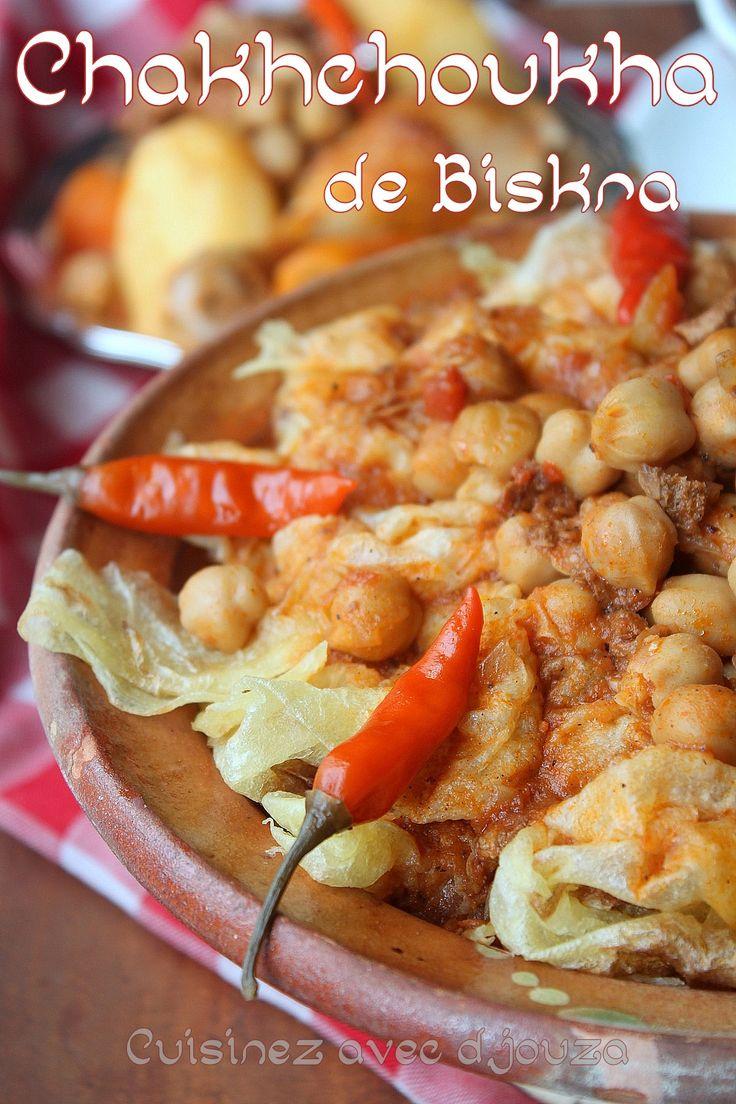 Biskra est réputée pour son plat traditionnel : charchoura, Chakhchoukha, un plat succulent à base de feuilles de msemen, trida, rougag : il se prépare