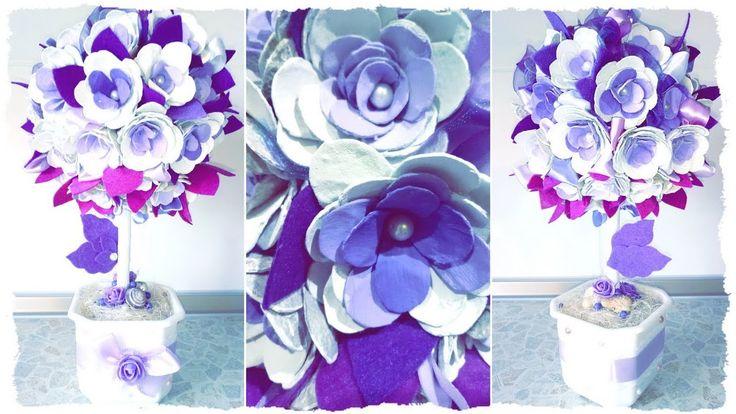 Топиарий из цветов из картона - видео мастер-класс цветочный топиарий фиолетового цвета от Алены Тихоновой на YouTube | violet flower topiary tree with sisal & felt - video master class handmade. #топиариитихонова #handmade #decor #рукоделие #топиарий