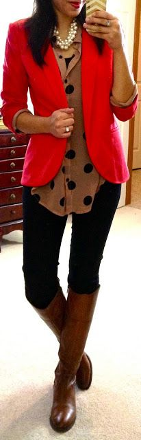 red blazer+ riding boots- F21 Jumbo Polka Dot Shirt (in taupe/black), The Limited Exact Stretch Skinny Pant, Lauren Conrad Open-Front Ponte Blazer via Kohl's (in red), Etienne Aigner Chip riding boots (in Banana Bread), F21 pearl necklace
