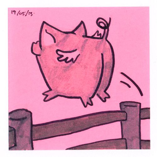 365 #daily #post-it #drawing Pigs fly