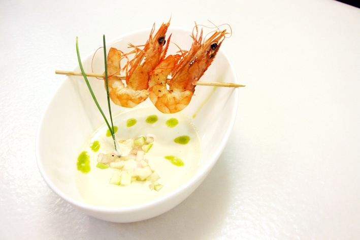 Ajoblanco soup (almonds soup) with shrimps and oro del desierto coupage basil infused in the kitchen!!