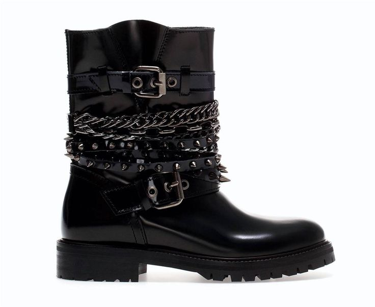 Zara Black Patent Leather Studs Chains Straps Ankle Boots EUR 36 37 38 39 40  41