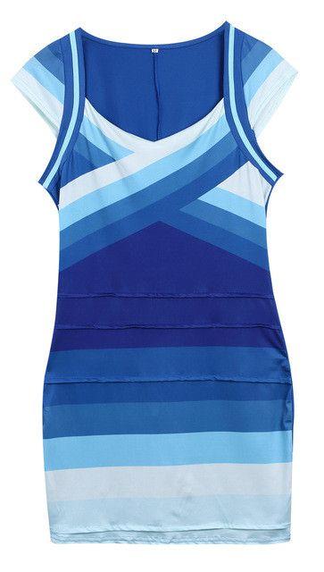 2016 Gradient Color Slim Women Bandage Bodycon Dresses Sleeveless V Neck Blue Sexy Party Dress Plus Size Russia Hot Sale