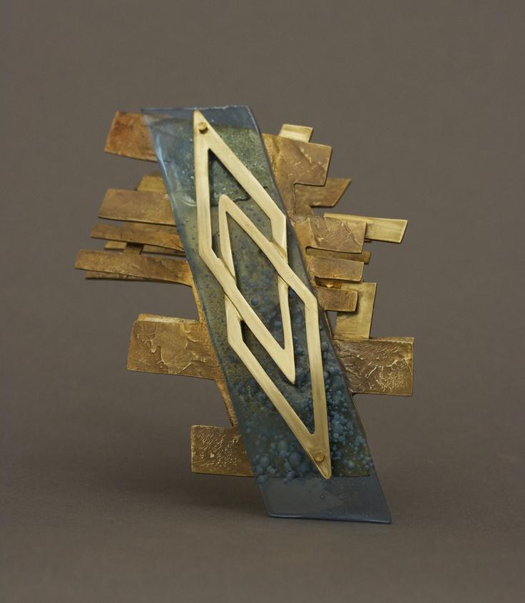 Julian De La Garza  Brooch -   Brass, Acrylic, Nickel