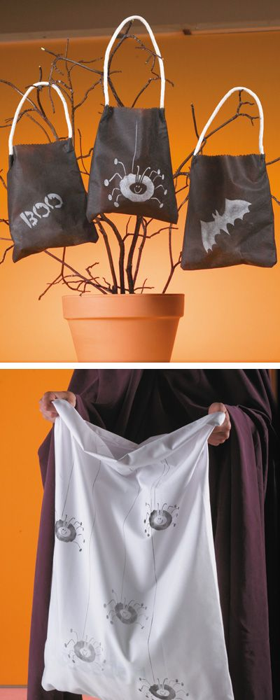 Create a custom candy bag for your #kids this #Halloweeen, using a spooky stencil on a pillow case. Bonus: Adding reflective spray paint will make your kids more visible in the dark.