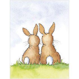 B041 Two Bunnies Gift Card. www.gailscards.com.au