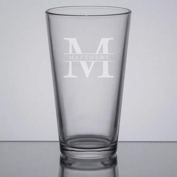 Engraved Pint Glass, Monogram Pint Glass, Custom Beer Glass, Monogram Groomsman Glass, Gifts for Groomsmen, Sandblasted Glass, Etched Beer by GrayFoxTradingCo on Etsy