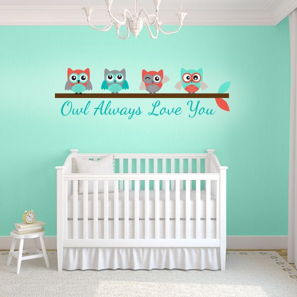 Turquoise and Coral Owl Always Love You Wall Decal | Wall Decal World