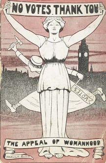 A post card that was sent out to invite community members to anti-suffrage meeting in London in 1912. This signifies a portion of female population that was opposed to women's right to vote, claiming that a woman is a being of private and domestic domain that has no business attempting to influence public and political affairs. This demonstrates discrimination and misogyny that was prevalent event amongst the females of the nation.
