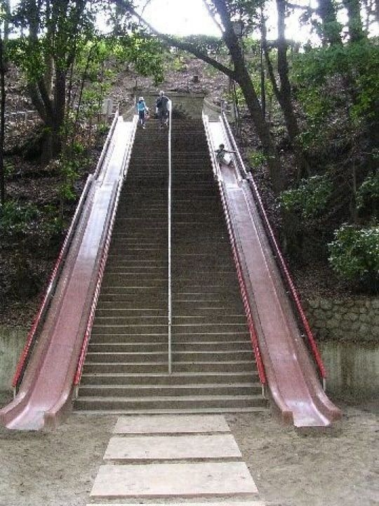 Every set of stairs should have a slide option.