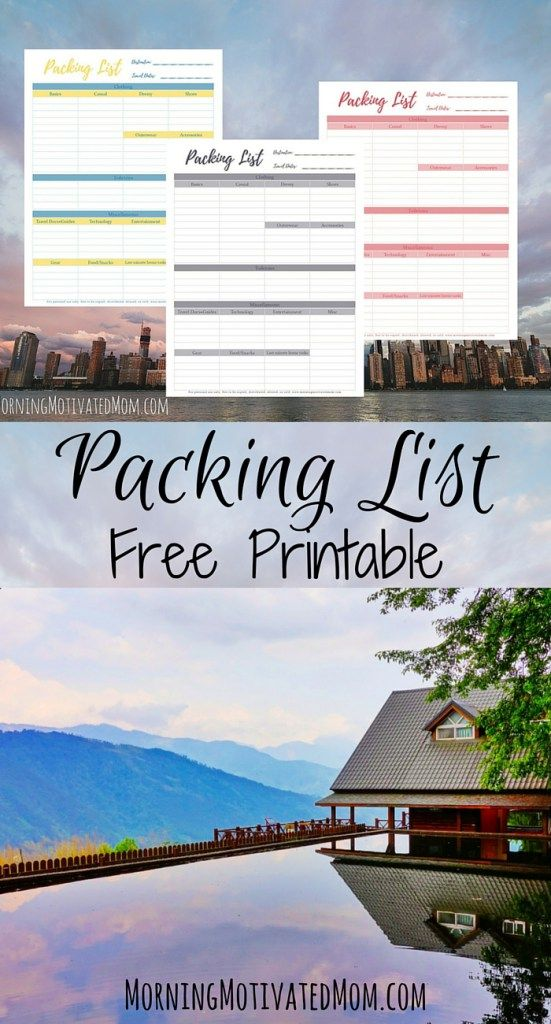Free Travel Packing List Printable. Creating a list that I go back to with each trip has made my packing more efficient and (somewhat) quicker. I created a Free Travel Packing List Printable for you to use on your next trip. Available in 3 colors!
