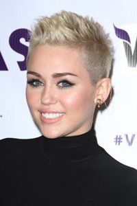 Celeb of the moment, Miley Cyrus works a pixie quiff and shaved sides for punk rock chic!