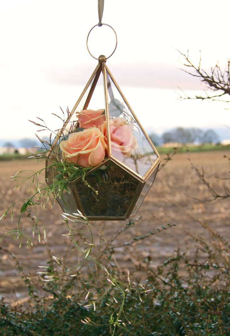 Florissimo, Shropshire - Flowers for weddings, events and businesses | Peachy-pink alchemy roses and trailing jasmine in geometrically-shaped hanging gold terrarium. Perfect floral venue displays for a Bohemian-styled wedding.