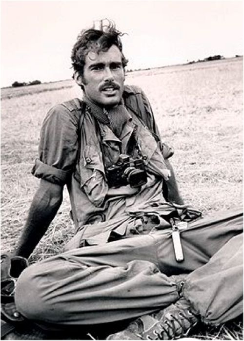 Sean Flynn (1941-1971) American photojournalist for Paris-Match, Time-Life and UPI, In 1966, Flynn was wounded in the knee, then parachuted in with 101st Airborne. He covered the Arab-Israeli war of 1967 and returned to Vietnam in 1968 with plans to make a doco. After heading into Cambodia in 1970 on a motorcycle with colleague Dana Stone, he was believed killed by the Khmer Rouge. seen here in Vietnam (1969)