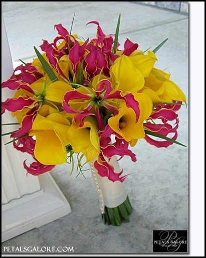 Lily and Yellow Calla Lily Bouquet. Nice color for summer. Love the flower choice though