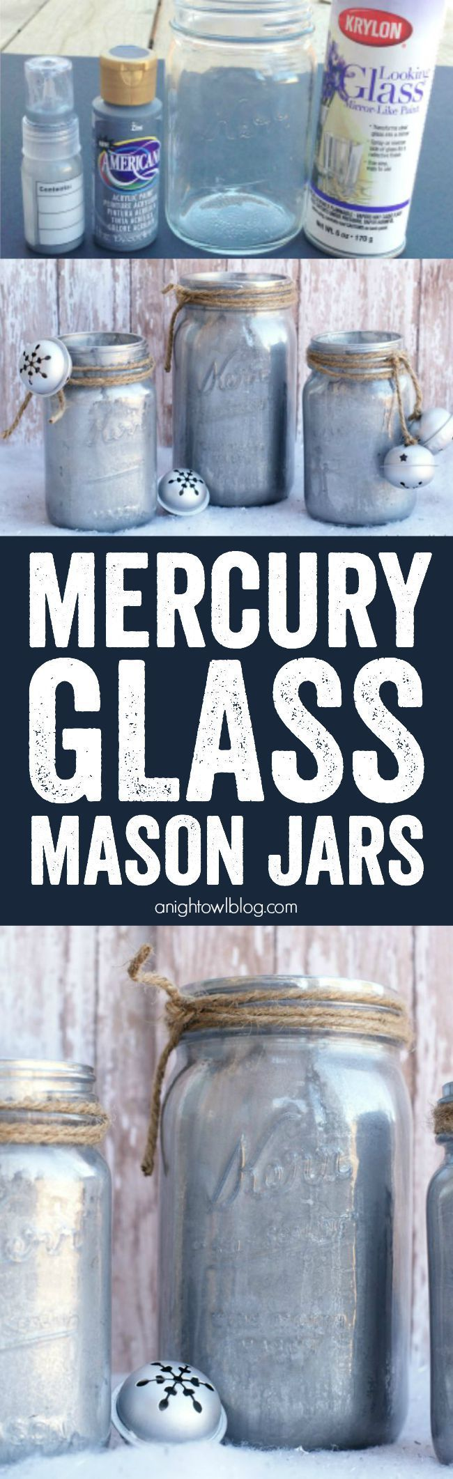 DIY Mercury Glass Mason Jars - a fun and EASY craft that is perfect for your holiday decor or gifts!