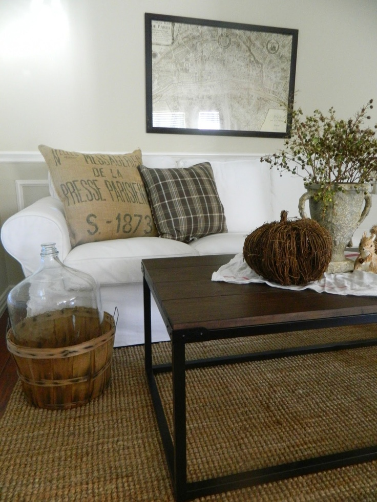 Fern Creek Cottage - white sofa and natural color scheme-love the earthy country feel of this room