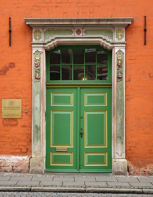 Green Doorway in Bremen, Germany | Inspiring Doors of Europe via the Modern Mastes Cafe Blog