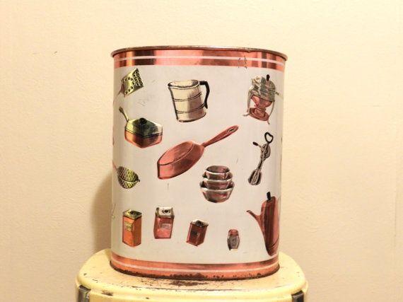 Mid Century Modern kitchen garbage can. Copper tin by ShoppeSimone