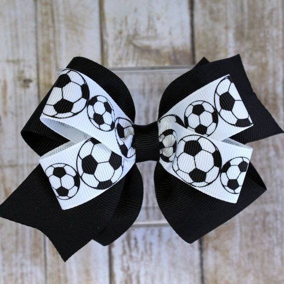 Soccer Hair Bows - Soccer Hair Ties - Hair Bows for Girls - Baby Girl Soccer Bows - Fall Hair Accessories - Soccer Bows - Toddler Hair Bows