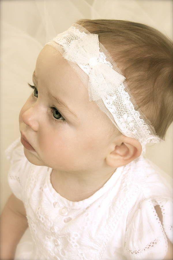 tabitha ivory baby christening / flower girl headband by lovebysusie | notonthehighstreet.com