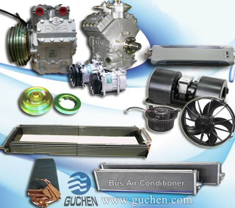 Bus Air Conditioning Parts - Coach Air Con Parts - Guchen Bus air conditioner parts, included compressor, clutch, fan, blower are mainly provided global brand bus / coach aircon, such as Guchen, carrier bus ac parts keywords:School bus air conditioner parts,Bus Air Conditioning Parts, city bus aircon parts, coach air conditioning parts,bus a c parts,carrier bus ac parts