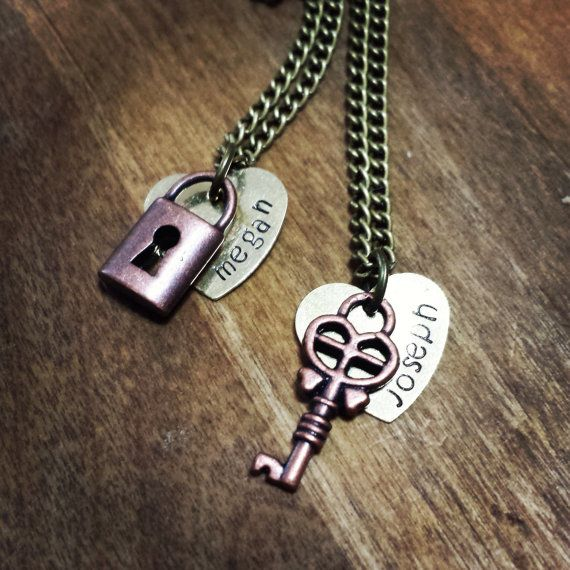 Cute matching jewelry for couples! Can be customized! https://www.etsy.com/listing/194581596/personalized-couples-necklace-set-with