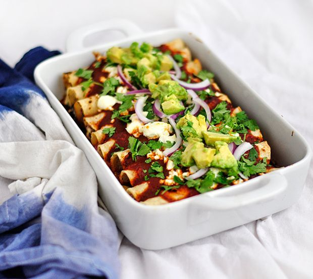 Vegetarian Enchiladas with black beans and summer squash