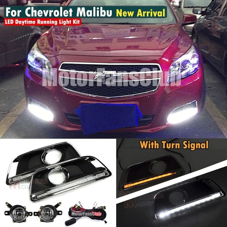 Car Styling Fog Lamp Light LED Daytime Running Light DRL Kit For Chevy Malibu 2013 2014  Wiring Relay Switch With Turn Signal