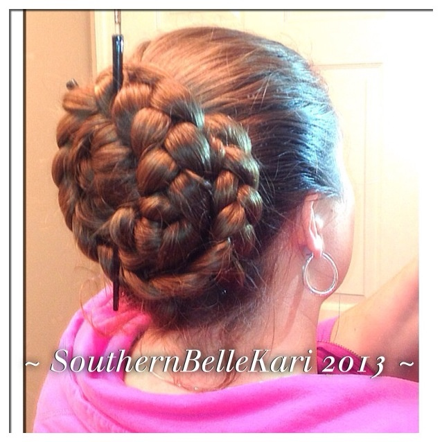 pony hair style braid bun w hair sticks buns 8405