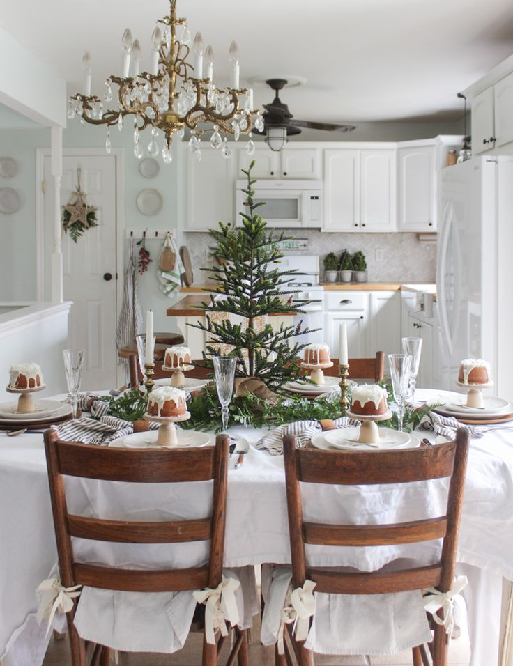 Best Christmas Home Tours Images On Pinterest Christmas Home - Decorating dining room christmas white silver christmas palette