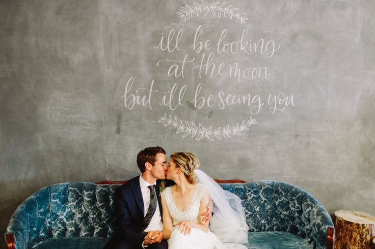 Amy & Rob - Downtown YEG Wedding. Bride & Groom, Calligraphy, Portrait, Vintage Couch, Chalkboard