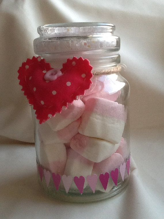 Glass jar full of yummy pink and white marshmallows and topped with heart and sparkle confetti and a pretty Cath Kidston fabric heart