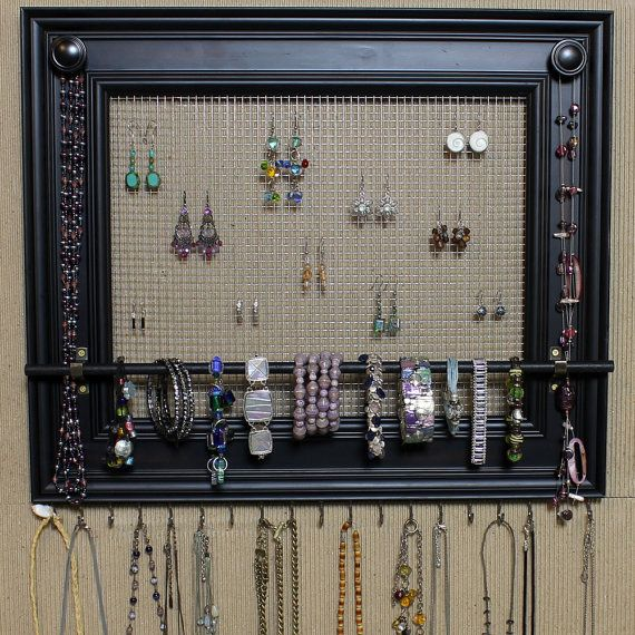 "Jewelry Organizer Display Rack Holder Picture Frame- 19""x16""- Extra Large"