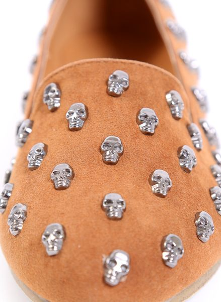 """Details: * Skull Stud detail loafers * Vegan suede leather * Cushioned foot pad * Non-slip sole * Color tan * Synthetic rubber sole * Heel height - 0.25"""""""
