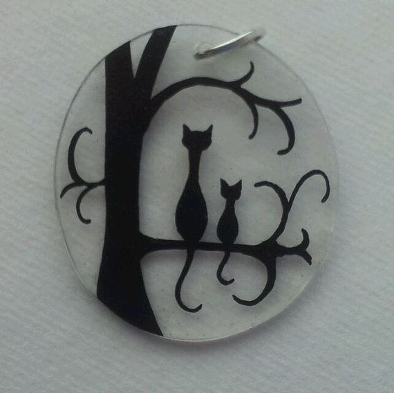 Cute pendant. Cat and kitten silhouette on a tree. Handmade from shrinky dink plastic. on Etsy, $5.19