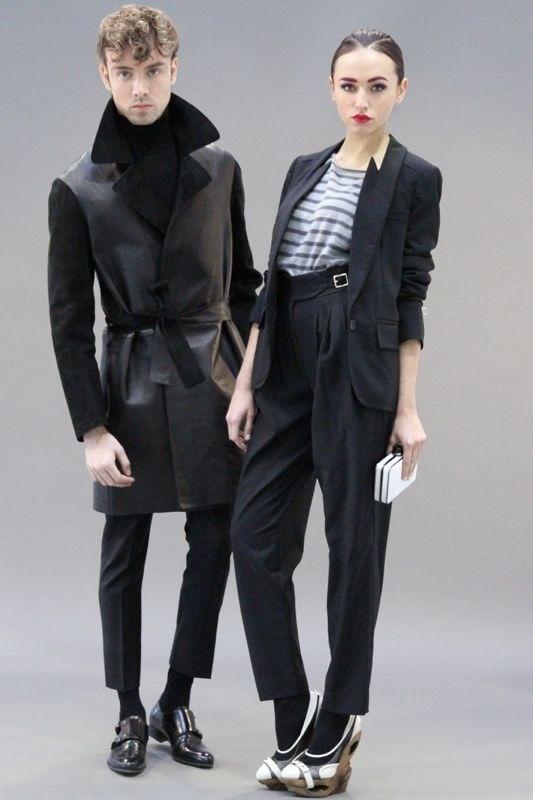 MARIO DICE FW13 Leather jacket / Woman black blazer
