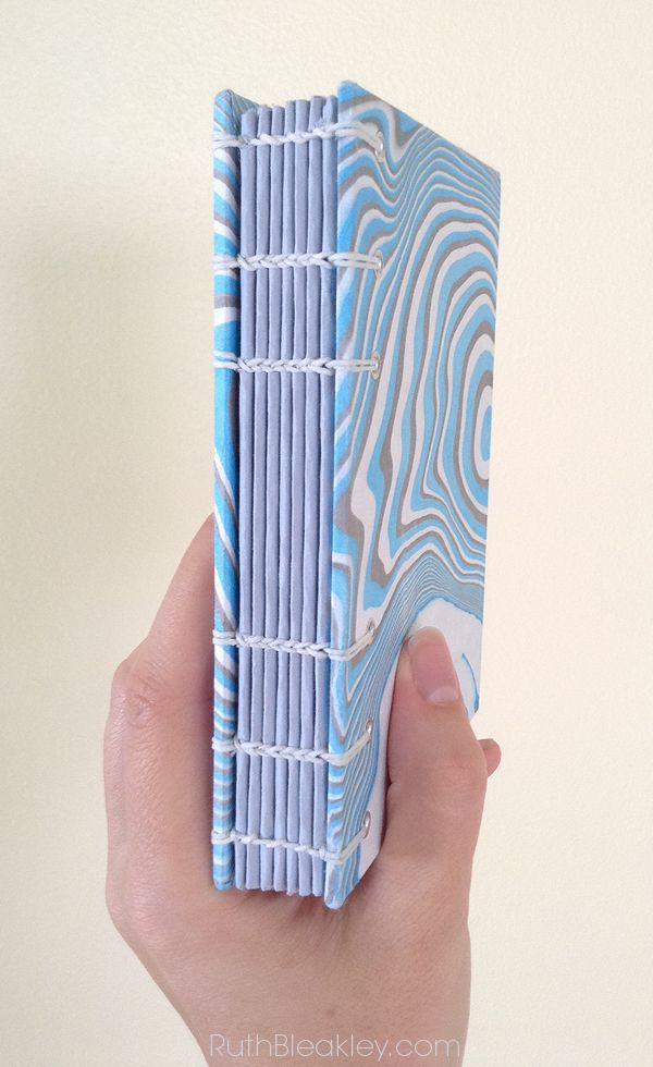 Handmade Journal Closeup of the Spine with Marbled Paper Covers by Ruth Bleakley