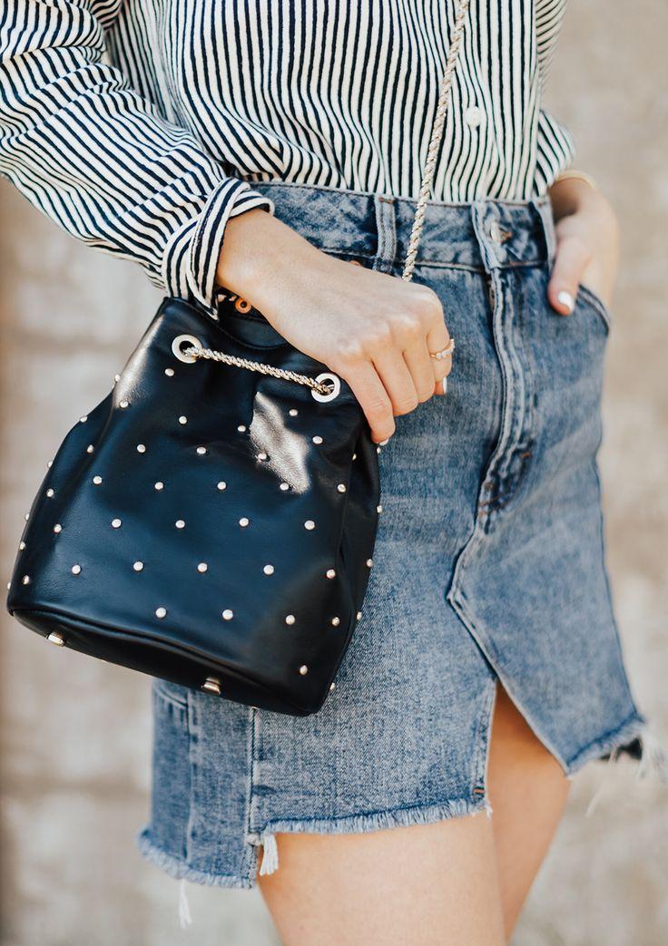 Black Studded Bucket Bag | LivvyLand