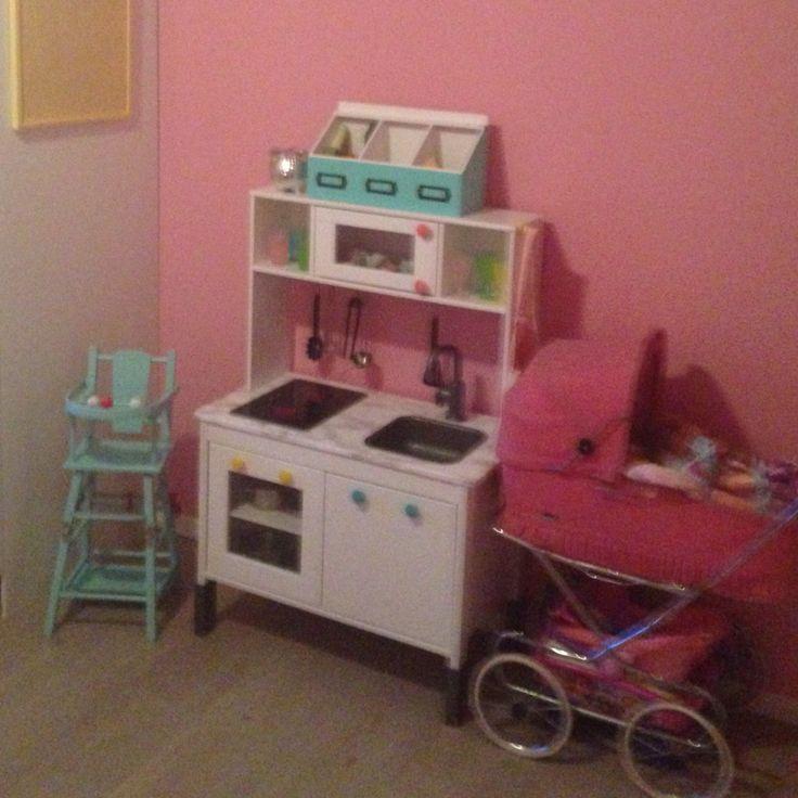DIY girls IKEA Kids kitchen. Painted
