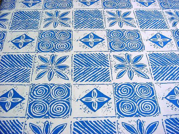 Block print vintage decorator fabric blue white swedish for Modern home decor fabric prints