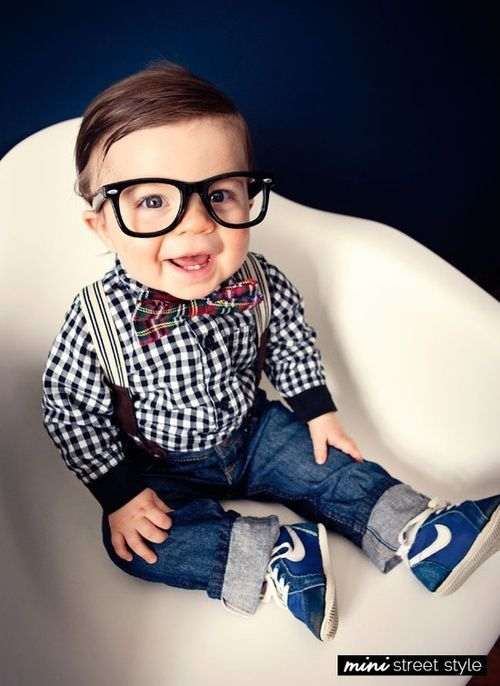 Baby boy fashion: rolled up jeans, glasses, bow tie, suspenders, plaid shirt