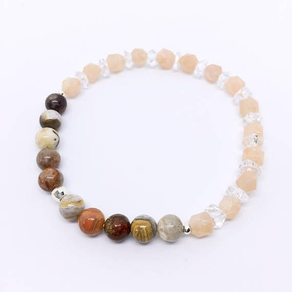 Protection Bracelet, with Peach Moonstone, Rock Crystal, Agate & Sterling Silver, Crazy Lace Agate, Protection Stones, Real Gemstones