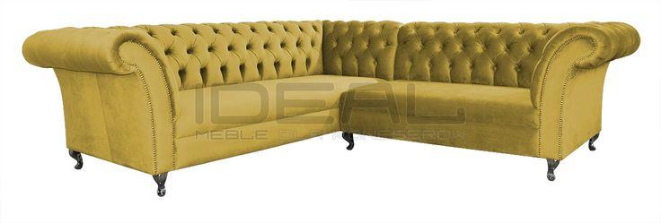 słoneczny żółty narożnik chesterfield (yellow Chesterfield Corner sofa) Sofy Stylowe - Narożnik Chesterfield Avon Ludwik - Ideal Meble