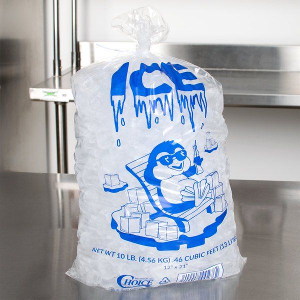 Choice 10 Lb Clear Plastic Ice Bag With Ice Print 1000 Case Ice Bag Bag Store 10 Things