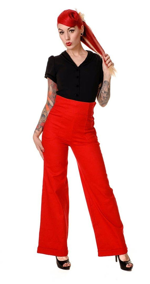 Collectif Clothing - Franky Swing Trousers Navy