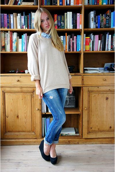 Oversized Sweater Adorable With The Collared Shirt Under 3