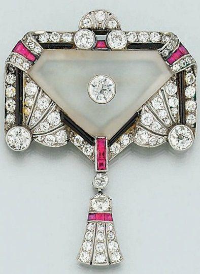 Art Deco Diamond, Ruby, Onyx & Rock Crystal Brooch 1925